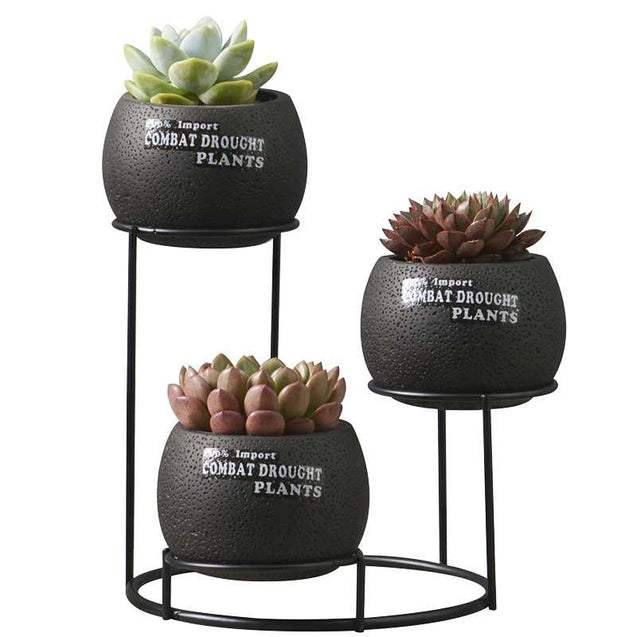 Cement Flower Pot Set With Iron Stand- 14791