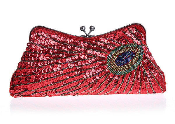 Clasp Female peacock chameleon dress clutch