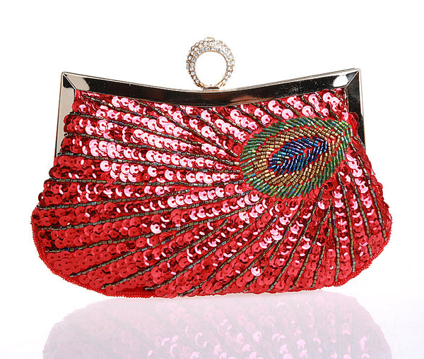 Clasp Peacock ring beaded bag