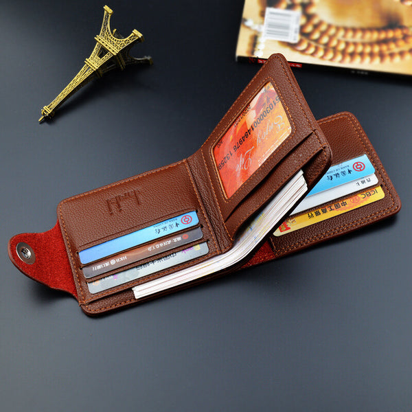 Cliff Mens Magnetic Buckle Three Fold Wallet