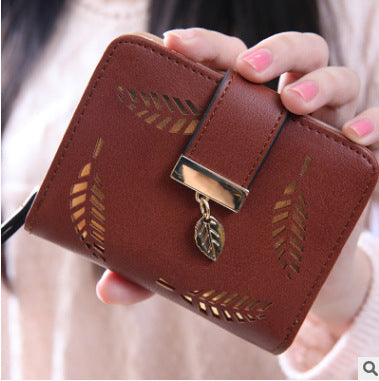 Chic Zipper buckle hollow leaves small wallet