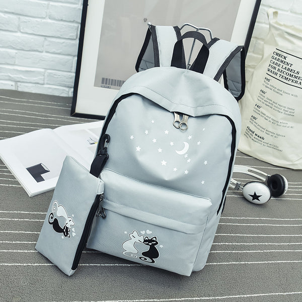 Motif Korean high school female backpack