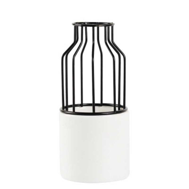 Wrought Iron Ceramic Small Vase - 14705