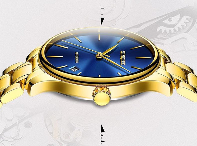 Waterproof Analog Mechanical Gold Watch with President Bracelet -3554
