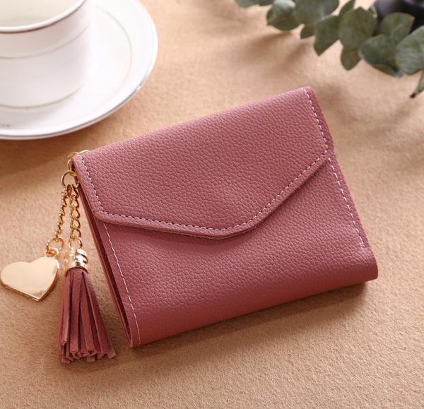 Chic women's fringed pendant lychee wallet