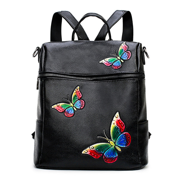 Pace Lychee pattern butterfly printed shoulder bag