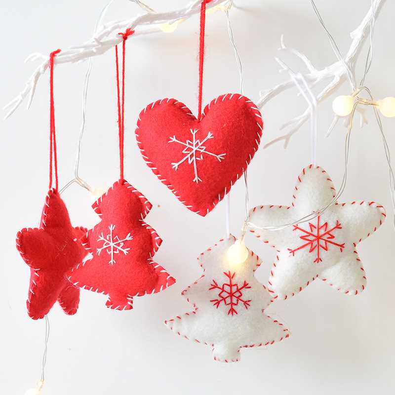 Wool Felt Snowflake Mini Christmas Tree Decoration Accessories