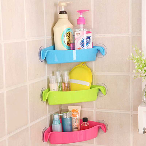 Double Suction Cup Bathroom Corner Shelf -11495