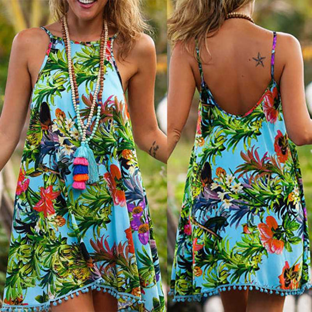 Bohemian Strap Print Backless Tropical Seaside Vacation Beach Skirt -8841