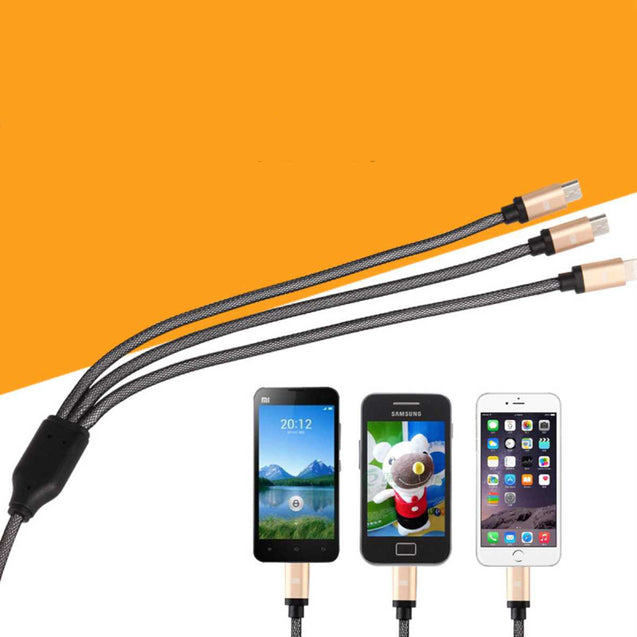 Usb Data Cable For Hassle-Free Charging And Transfer (3-In-1 Head)
