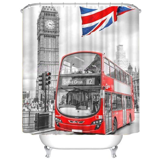 British City Double Decker Bus Printed Polyester Shower Curtain Curtains