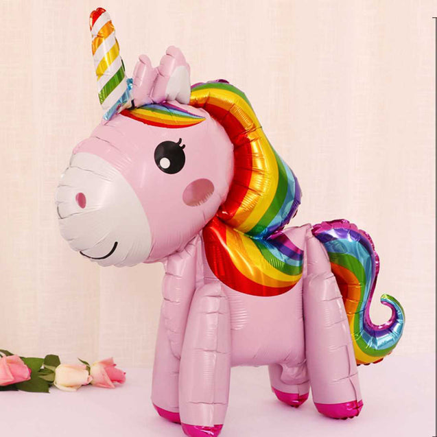 Wholesale 3D Stereo Assembled Unicorn Cartoon Balloon Standing Pony Stereo Flying Horse Balloon -12306