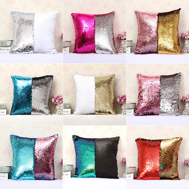 Colour Changing Sequins Magic Cushion Cover Without Filler (1 Pc) - 14291