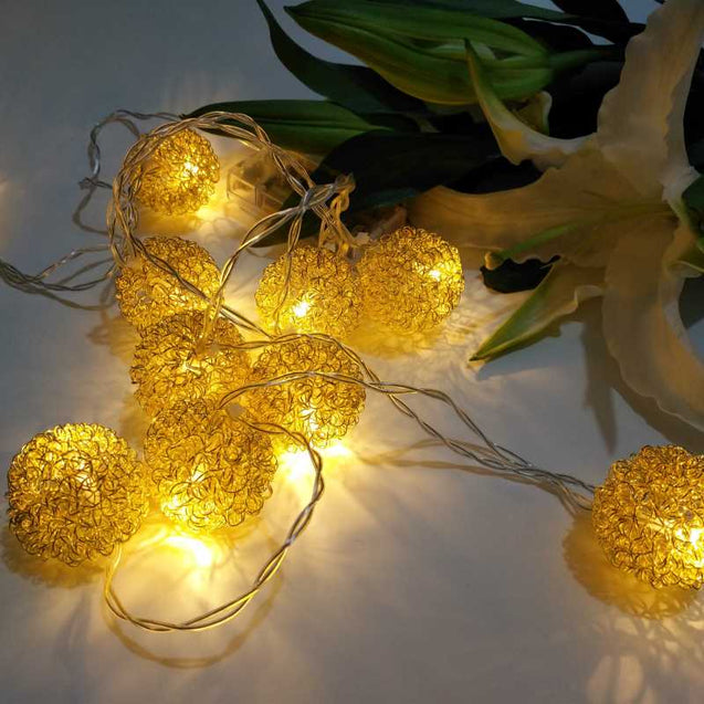 Room Decoration Wire Hair Ball Led Light String- 12764