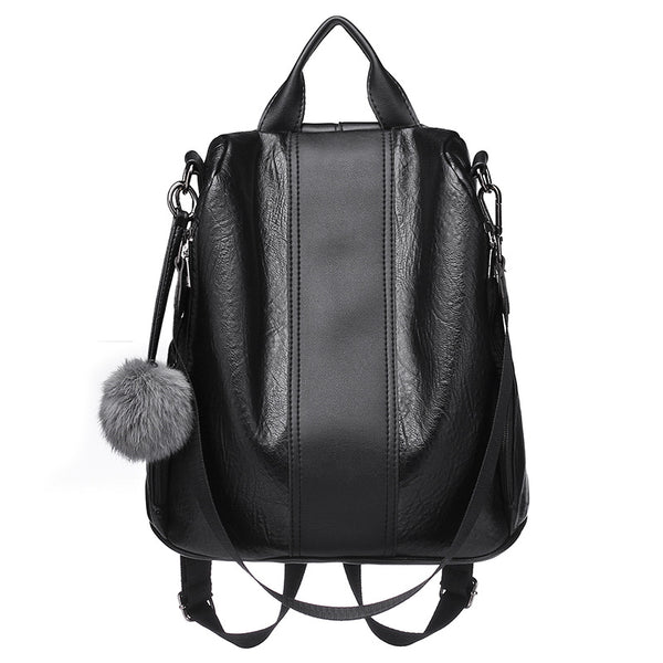 Dazz Soft Fur Ball Leather Backpack