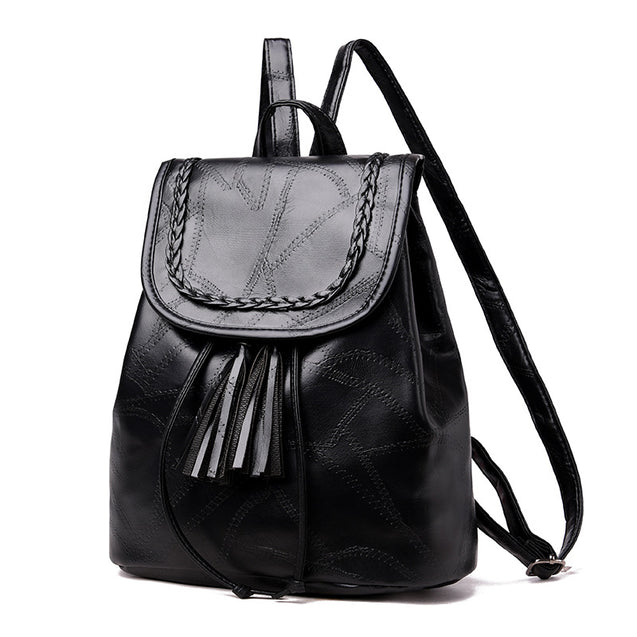 Ales New Fashion Stitching Tassel Backpack Bag - 28740