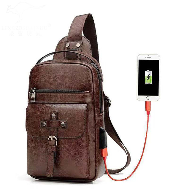 Weixier Men'S Retro Usb Charging Bag - 28254
