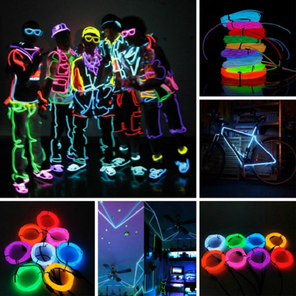 Super Bright Neon Light Flexible Wire (3 Meter, Random Color) - 14271