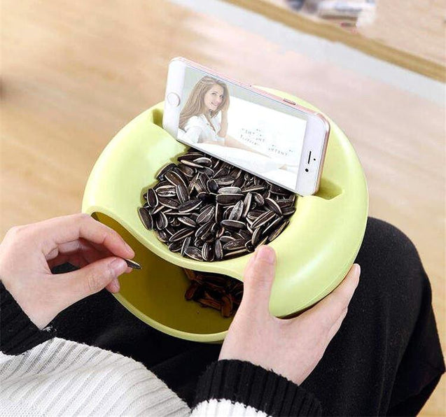 bowl, phone holder, storage, 2 in 1, household