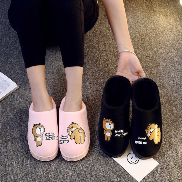 Female Thick Sole Warm Slippers For Winters - 14137