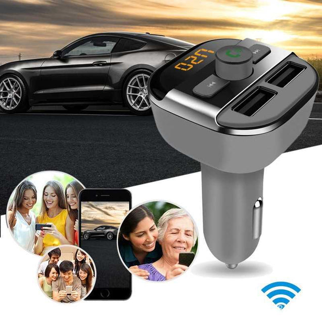 Dual Usb Car Mp3 Bluetooth Player, Hands-Free Calling And Car Charger-10420
