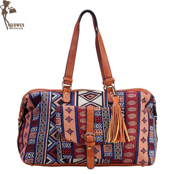 new fashion High-end Jacquard travel bag canvas luggage bag women travel bags casual duffel bag packing cubes good quality - 23963