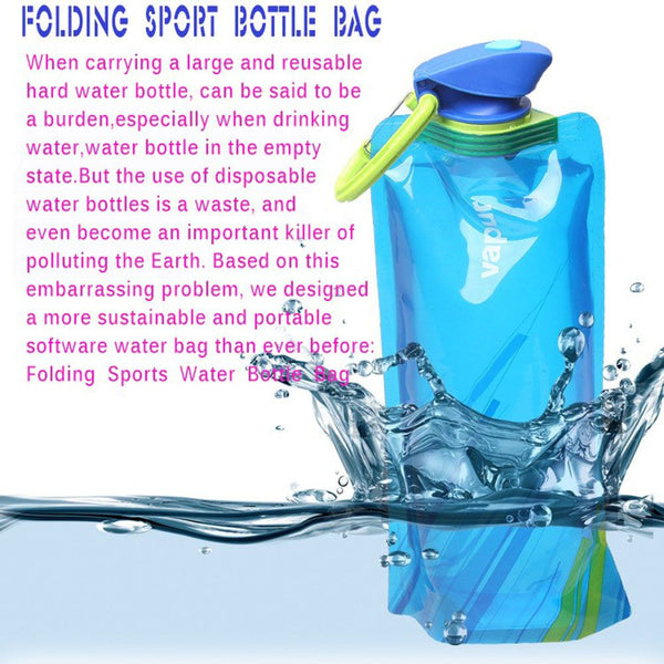 ISKYBOB 700mL Travel Portable Collapsible Folding Water Bottle Kettle Cup for Travel Accessories - 23725
