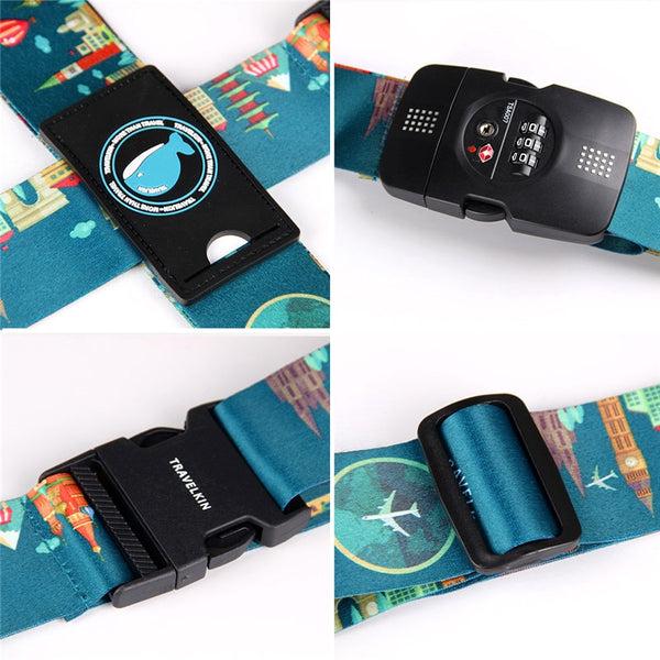 TSA 3-Digit Password Lock Adjustable Luggage Strap Travel Suitcase Band Belt Baggage Strap Fit for 20-32'' Suitcase - 23797