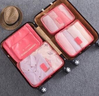 2018 Nylon Packing Cube Travel Bag Double zipper System Durable 6 Pieces One Set Large Capacity Luggage Organize Bag b35 - 23970