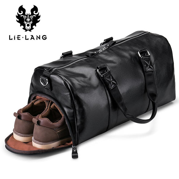 LIELANG Men's Black handbag Travel Bag Waterproof Leather Large Capacity Travel Duffle Multifunction Tote Casual Crossbody Bags - 23916