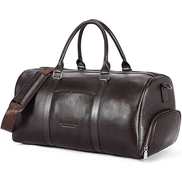 BOSTANTEN Genuine Leather Men Travel Bags Overnight Duffel Bag Weekend Travel Large Tote Bags Crossbody Travel Bags - 23923
