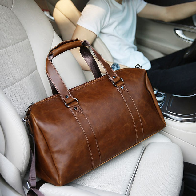 New Vintage Crazy horse pu Leather Men Travel Bags Luggage Travel Bag Leather Men's Duffle Bags Large Men Weekend Bag - 23910