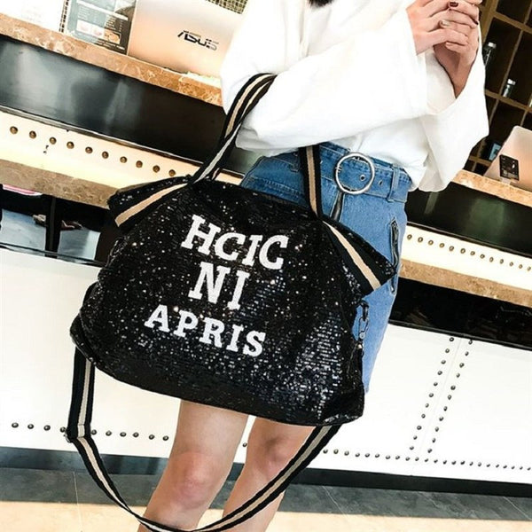 New Europe and America Sequin High-capacity Luggage bag fashion Weekend Travel Large Tote Bags fashion Female Travel Bags - 23865