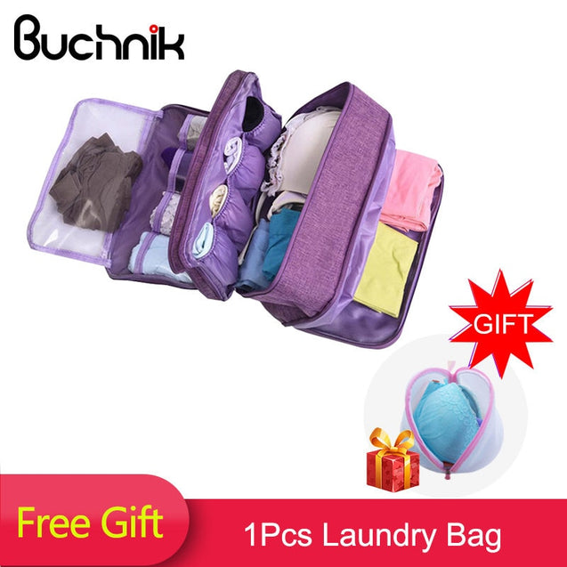 BUCHNIK Women Underwear Bags Portable Travel Compartment Wash Cosmetic Clothes Organizer Fashion Bra Storage Cases Accessories - 23793