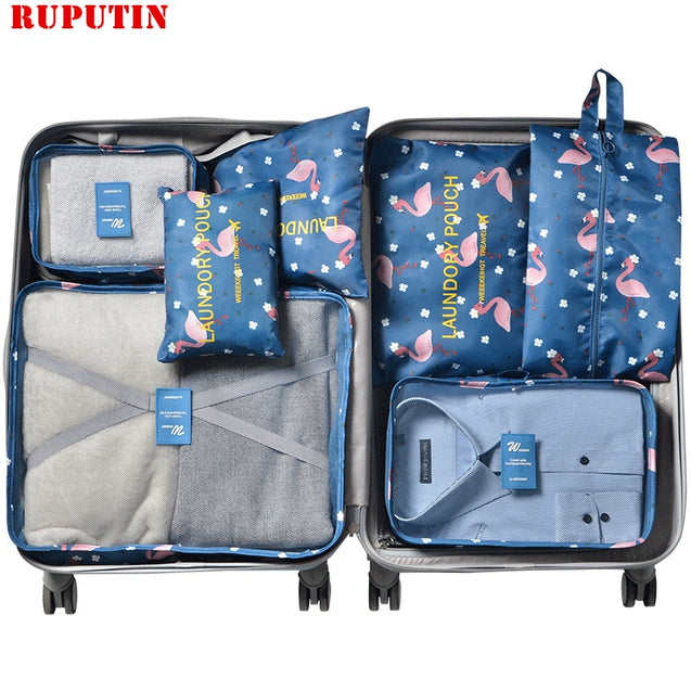 RUPUTIN 7Pcs/set Travel Organizer Suitcase Clothes Finishing Kit Portable Partition Pouch Storage Bags Home Travel Accessories - 23831