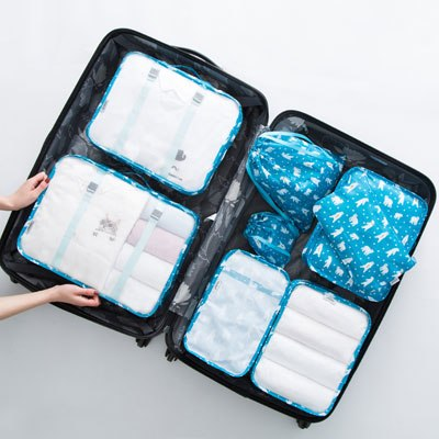 8 pcs/set Folding Travel Packing Cubes Travel Accessories Organizer Traveler Accessorie Durable Polyester Packing Organizers - 23805