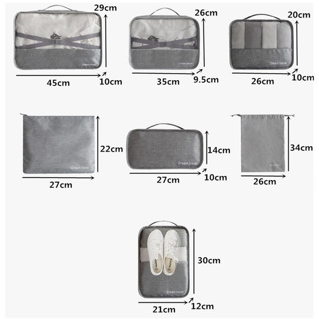 7pcs/set Men Travel Bags Sets Waterproof Packing Cube Portable Clothing Sorting Organizer Women Luggage Accessories Product 2018 - 23920