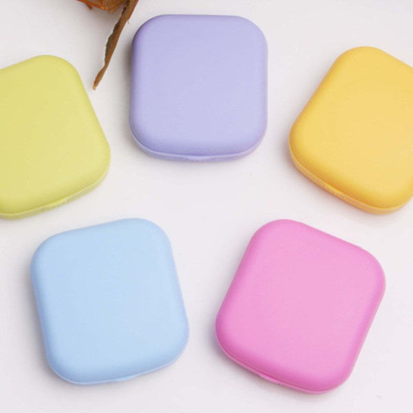 Mini Square Plastic Contact Lens Case Easy Carry Mirror Container Holder Travel Accessories for Christmas Gifts - 23778
