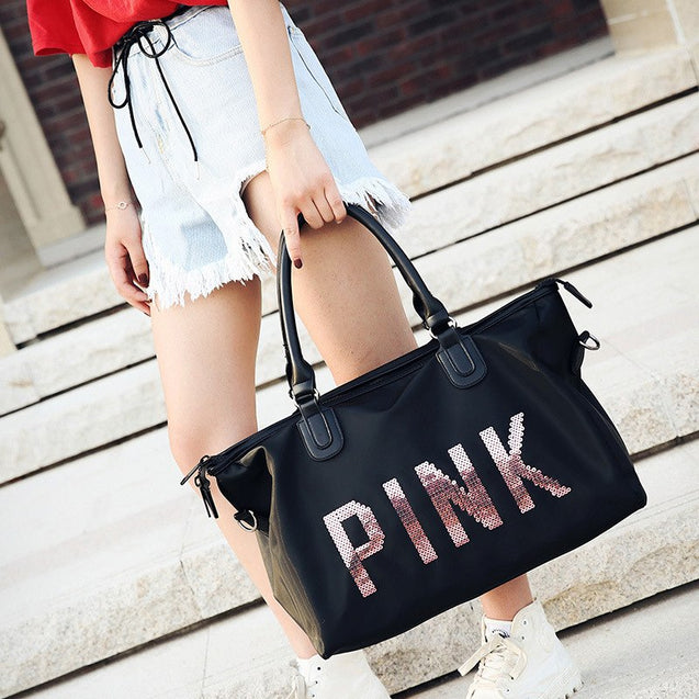 Women Sequins Fashionable Portable Travel Bags Large Capacity Training Luggage Bag weekend duffel bag bolso mujer grande pink - 23877