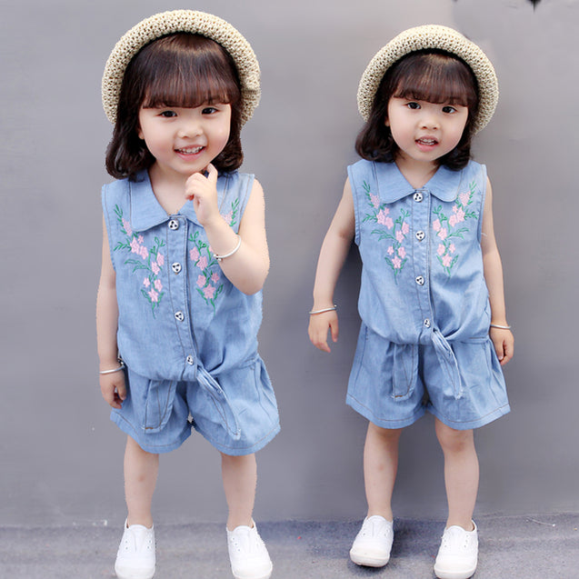 Denim Top & Shorts Sets For Baby Girl