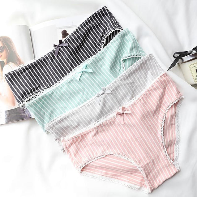 sexy striped Low Waist cotton panties-3408