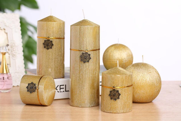 Christmas Decoration Golden Candle Candles and Stands - GlobePanda
