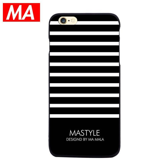 Black and White Striped iPhone 6 Plus Silicone Case Phone Cases - GlobePanda