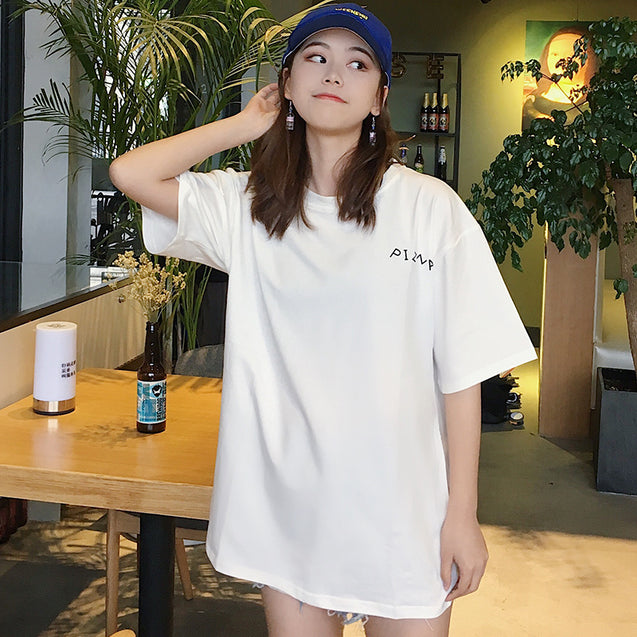 Long Style And Loose Sleeve T Shirts For Girls