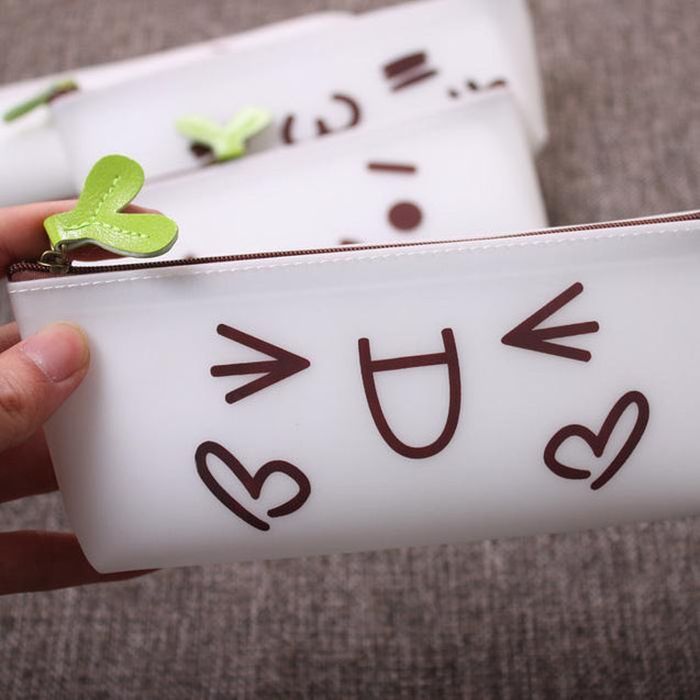 Silica Gel Cute Cartoon Face Pencil Box-2387