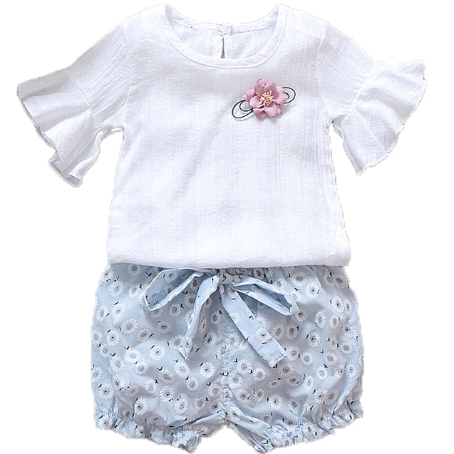 100% Cotton Top & Shorts Set For Baby Girl