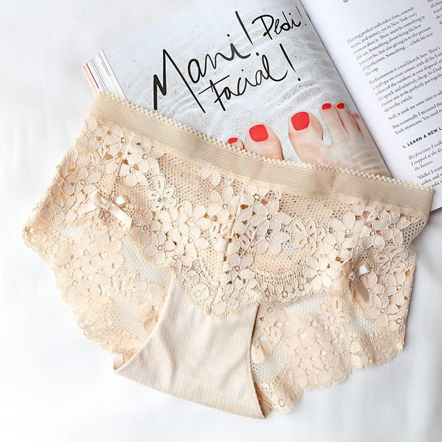 lace embroidered low waist Butterfly Panty -3404