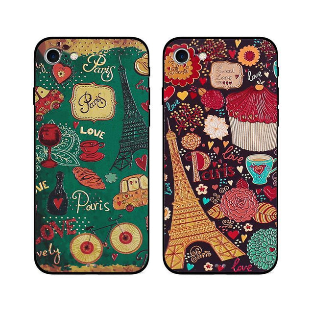 Colorful Paris Love Doodle iPhone 7 Protective Case Phone Cases - GlobePanda