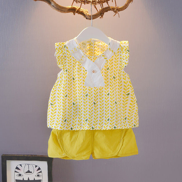 100% Cotton Top & Shorts Sets For Baby Girl