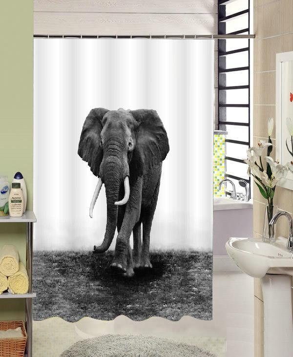 3D Printed Elephant Waterproof Shower Curtain Shower Curtains - GlobePanda